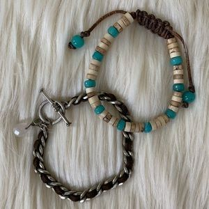 American Eagle Bracelets, Brown, Turquoise, Silver